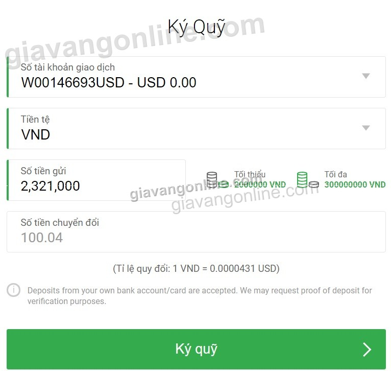 Hướng dẫn chuyển tiền / rút tiền Fxpro